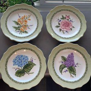 Vintage garden princess house plates set of 4